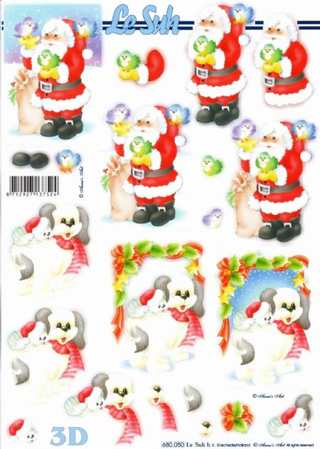 Father Christmas and Animals Die Cut 3d Decoupage Sheet From Le Suh - NO CUTTING